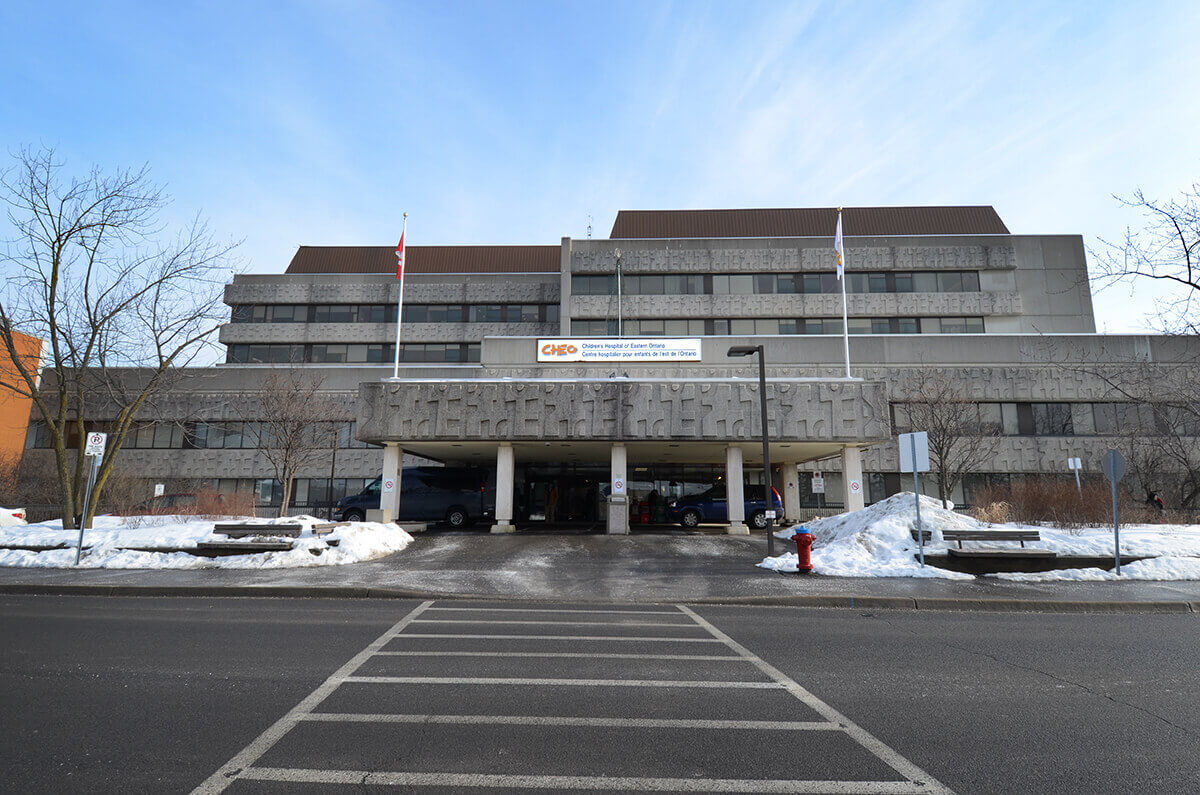 External view of the Children's Hospital of Eastern Ontario in Ottawa, Ontario