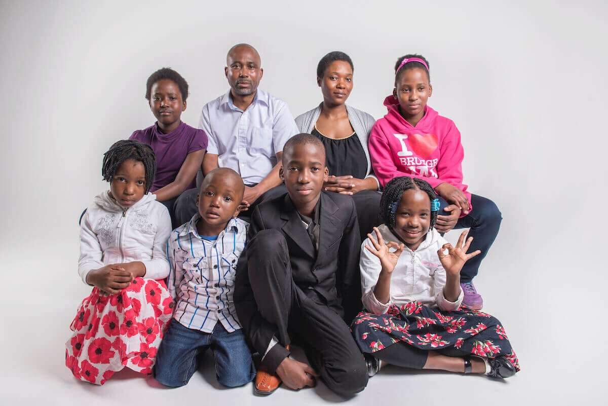 Photo of the Mbwile family,  Congolese refugees that utilized CHEO services
